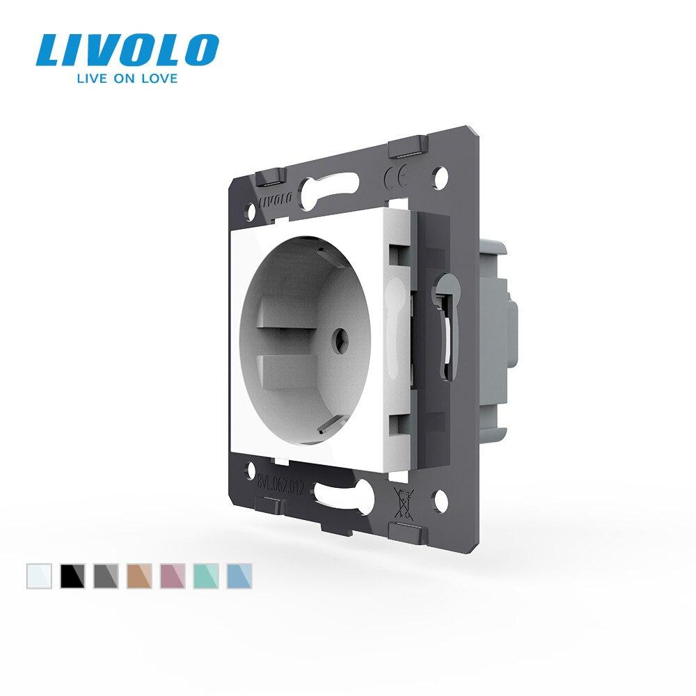 Livolo розетка DIY части, белые пластиковые материалы, стандарт ЕС, функциональная клавиша для ЕС розетки, VL-C7-C1EU-11