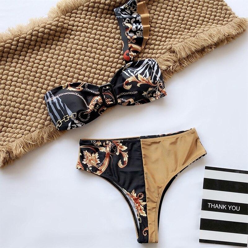 Peachtan Sexy high waist bikini 2020 One shoulder swimsuit female Ruffle bathing suit Retro floral print swimwear women bathers 5