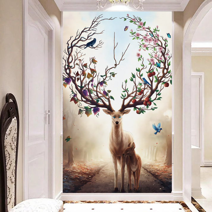 Sainaimu 5D TV Backdrop Wallpaper Mural Nonwoven Fabric Living Room Wallpaper Modern Chinese Style Jade Entrance Mural