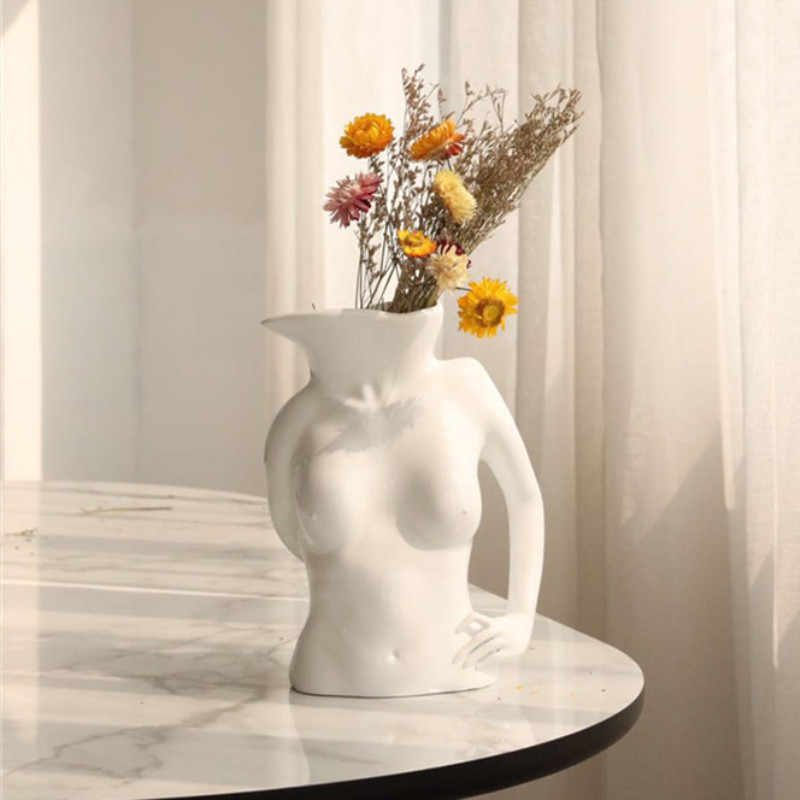 Nordic Style Resin Body Art Vase Creative Living Room Bedroom Flower Arrangement Flower Pot Home Decor Art Statue A1623 Aliexpress
