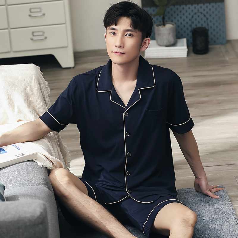 Summer Short Pajamas for Men 2PCS Short Sleeves Sleepwear Men Soft Navy Nightwear PJs 2020 Night Pijamas Homme Plus Size L-4XL