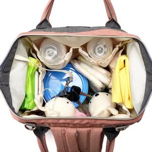 Image 4 - USB Diaper Bag Baby Care Backpack for Mom Mummy Maternity Wet Bag Waterproof Multi Function Stroller Bag LEQUEEN