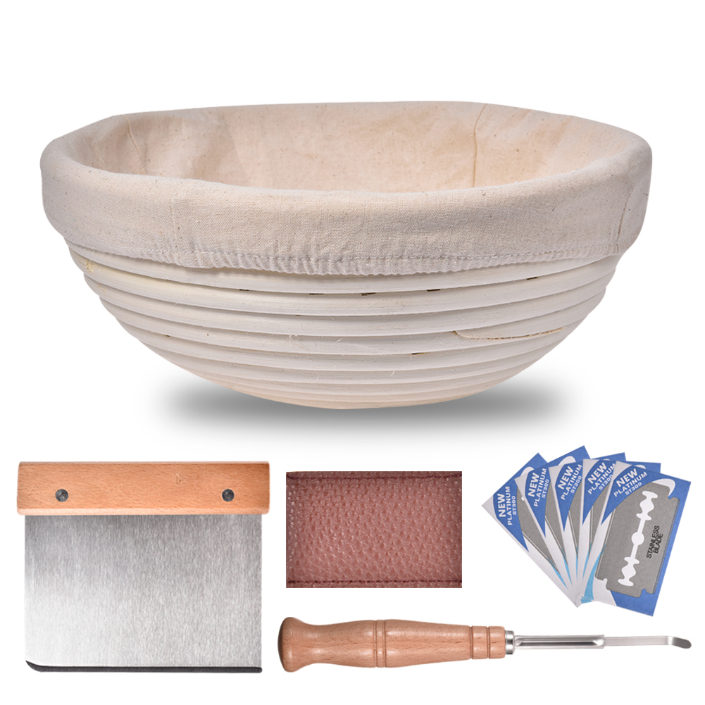 8PCS Rattan Bread Proofing Basket Set Natural Oval Rattan Wicker Dough Fermentation Tools Sourdough Banneton Bread Basket