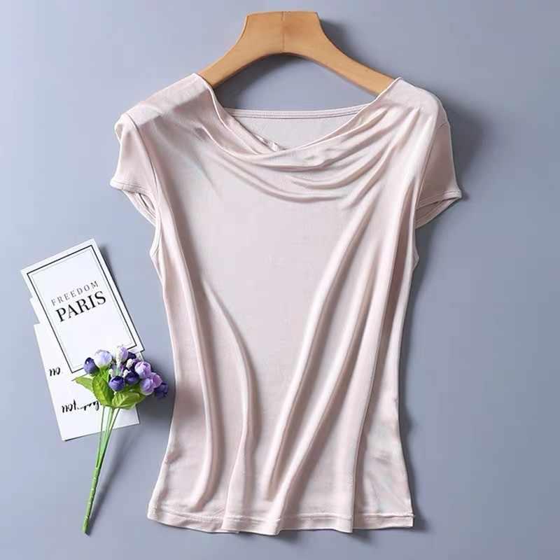 Vrouwen 50% Zijde 50% Viscose Gebreide Drape Hals T-shirts Top 8 Kleuren M-2XL SG305