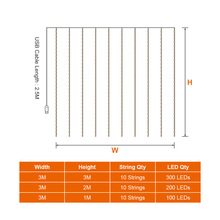 LED Curtain String Lights with Remote Control 3m/2m/1m