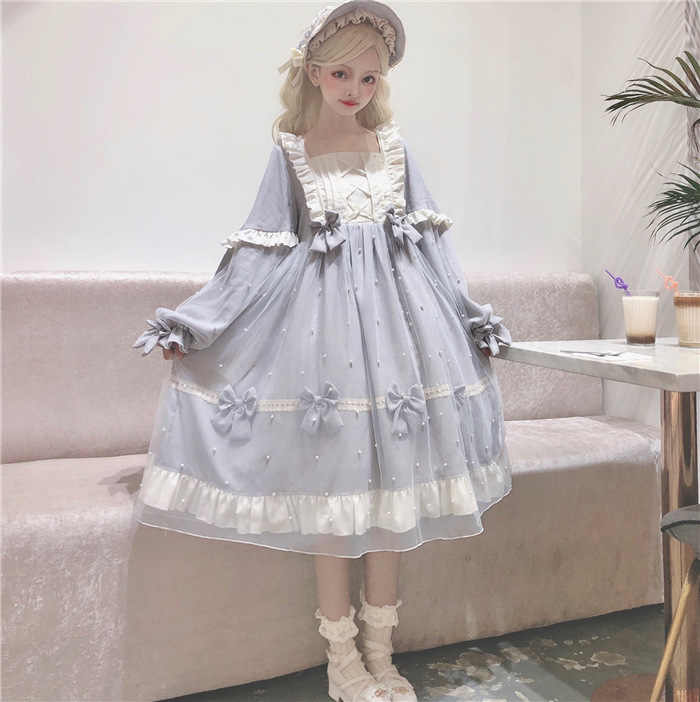 Princess tea party sweet lolita dress vintage falbala bowknot high waist lantern sleeve victorian dress kawaii girl op loli cos