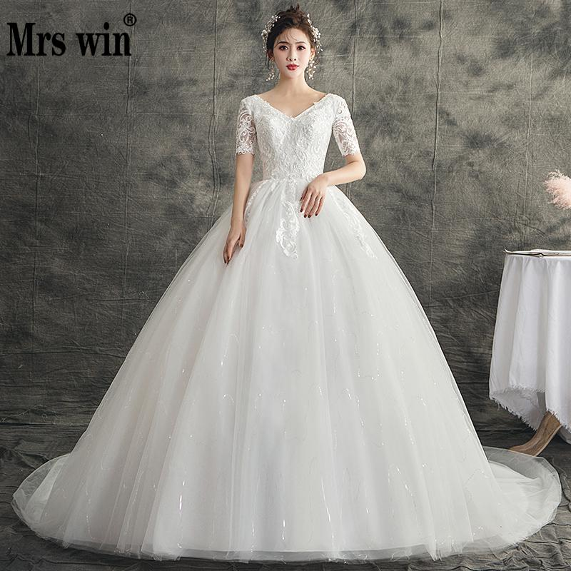 Mrs Win Wedding Dress 2020 The Brdial Short Sleeve Sexy V-neck Ball Gown Princess Luxury Lace Embroiery Wedding Dresses