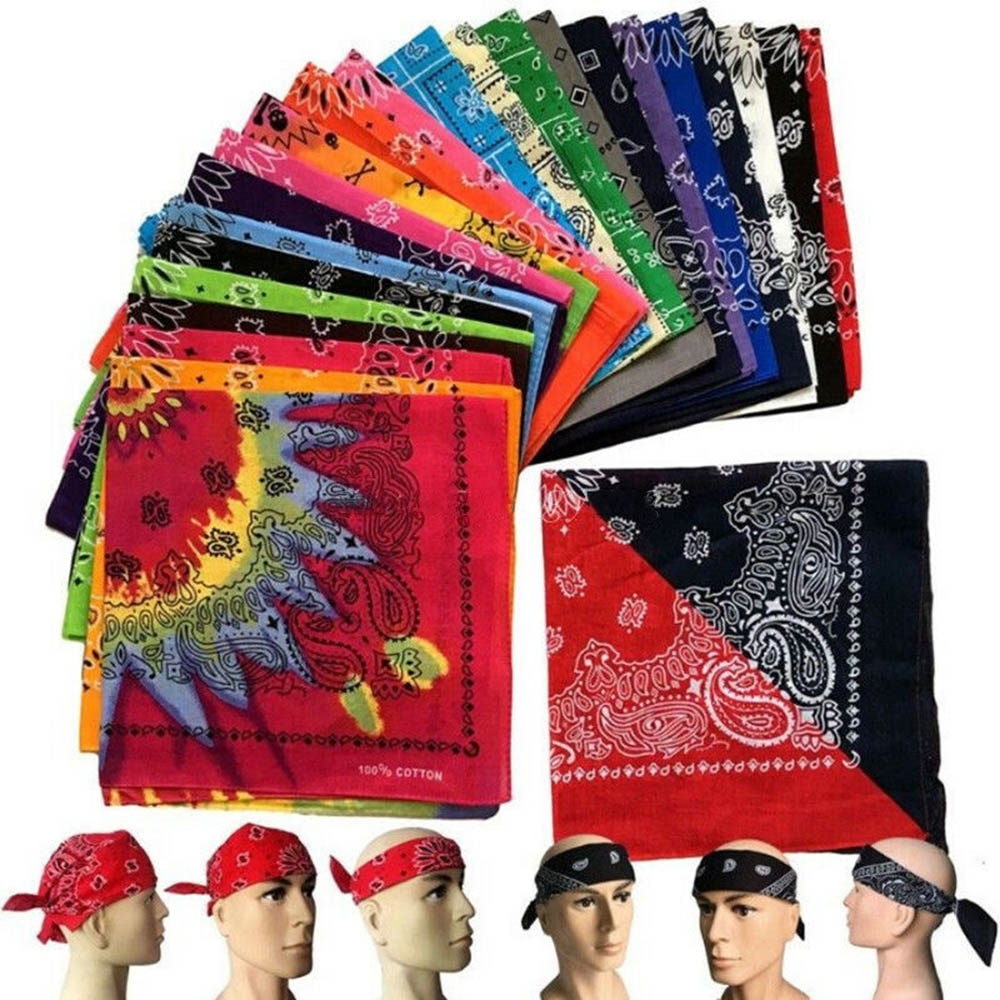 Outdoor Bandana Pack Of 12 100% COTTON Multi Colors Non Fading Large  Bandanas 22 X 22 IN   For Women/Men/Boys/Girls