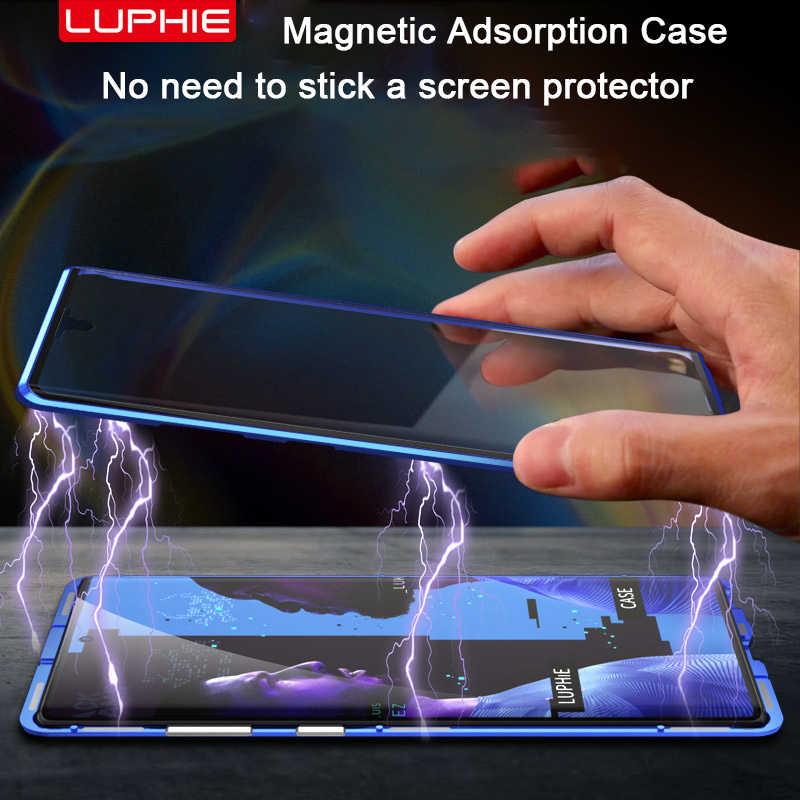 الإمتصاص المغناطيسي الحال بالنسبة لسامسونج غالاكسي S20 S10 S8 S9 نوت 20 10 الترا زائد لايت 9 8 الحالات الهاتف الزجاج المقسى غطاء معدني
