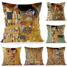 HOT SALE Gustav Klimt The Kiss Pillow Cover Oil Painting Home Decorative Pillowcases Gold Silk Fabric Case Size 40*40cm