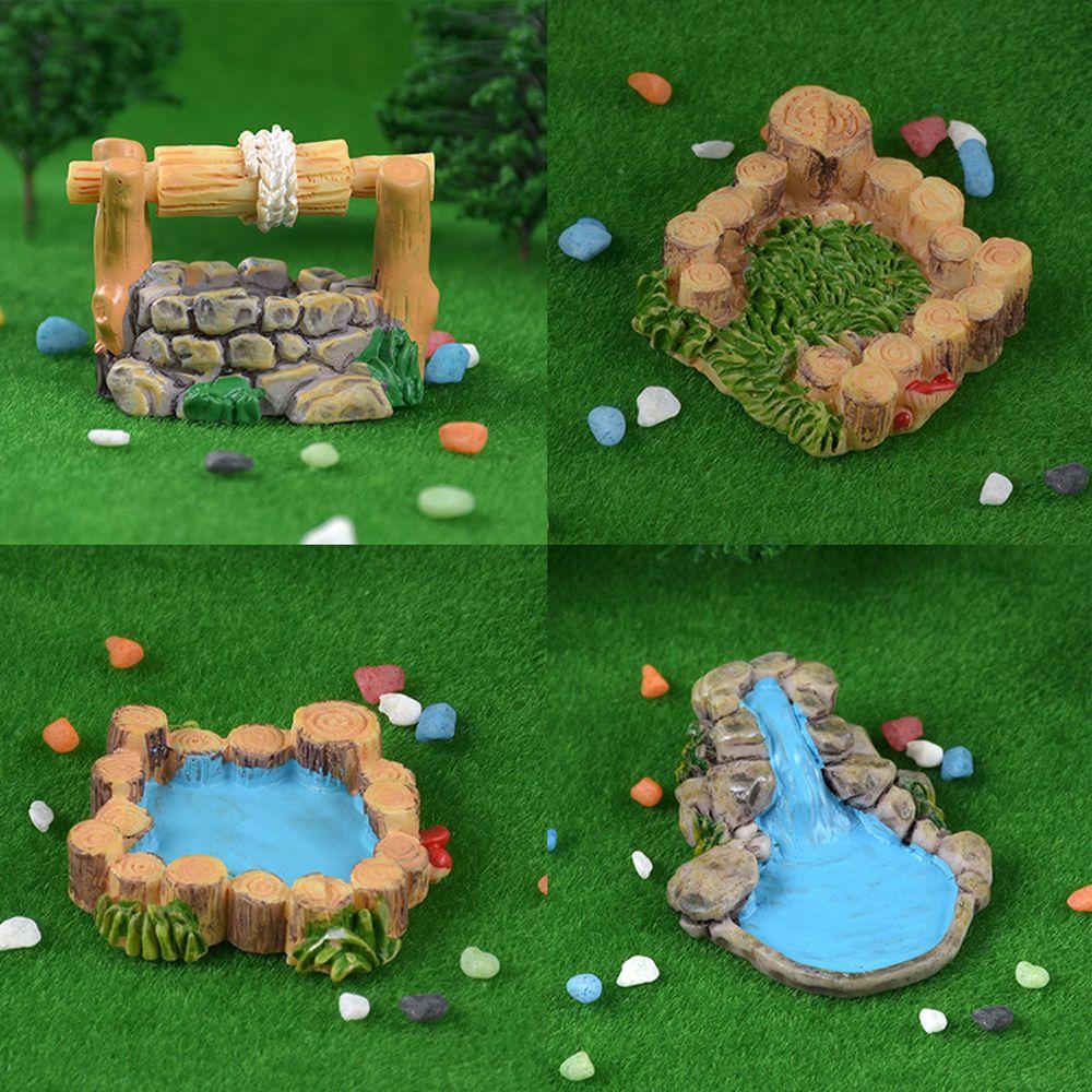Mini Grassland Water Well Figurines Miniature Craft Fairy Garden DIY Kids Bedroom Living Room Ornament Home Decoration