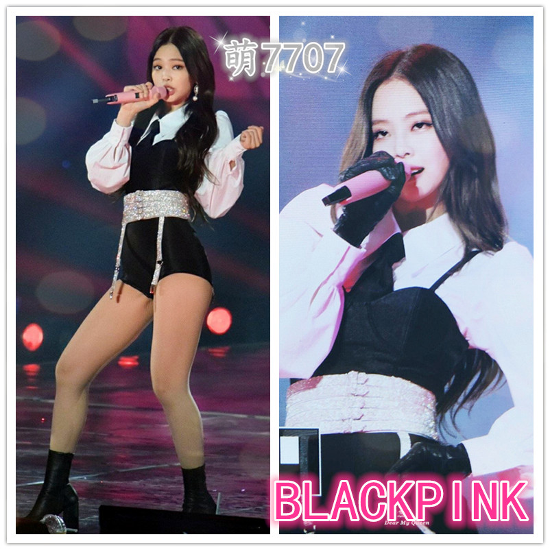 Kpop Blackpink Jennie Stage Show Same Korean Sexy Long Sleeve Shirts Shorts Two Piece Set Women Summer Vest Shorts 2 Piece Set