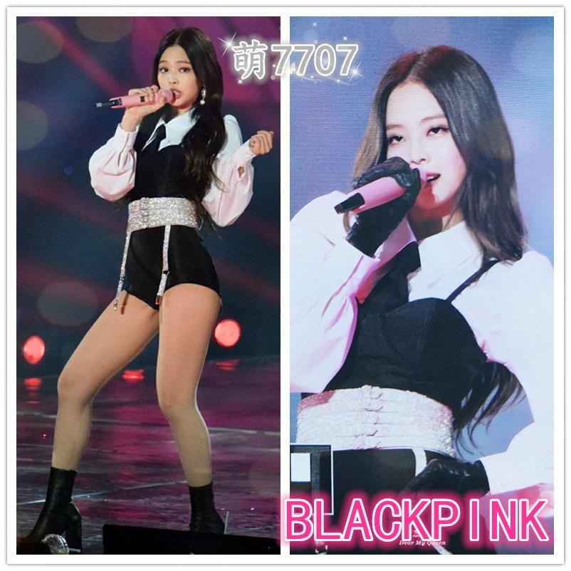 Kpop Blackpink Jennie Stage Show Same Korean Sexy Long Sleeve Shirts Shorts Two Piece Set Women Summer Vest Shorts 2 Piece Set