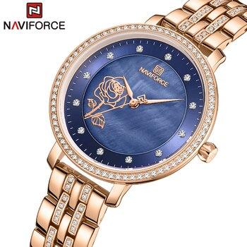 NAVIFORCE Luxury Ladies Watch Women Waterproof Rose Gold Steel Strap Women Watches Top Brand Bracelet Clocks Relogio Feminino 1