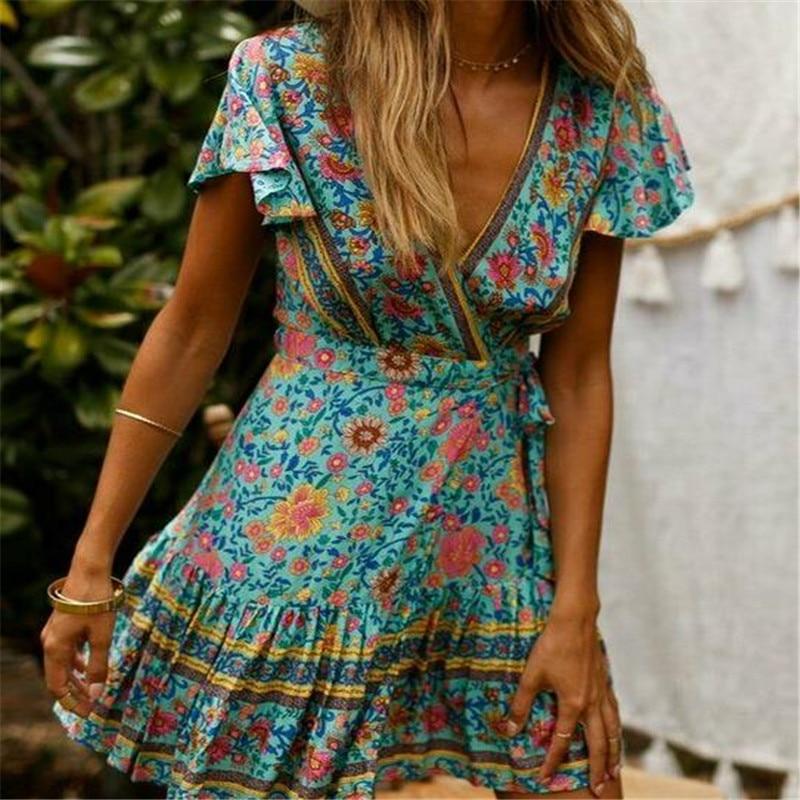 Women's Summer Wrap V Neck Bohemian Floral Print Ruffle Swing A Line Beach Mini Dress 1