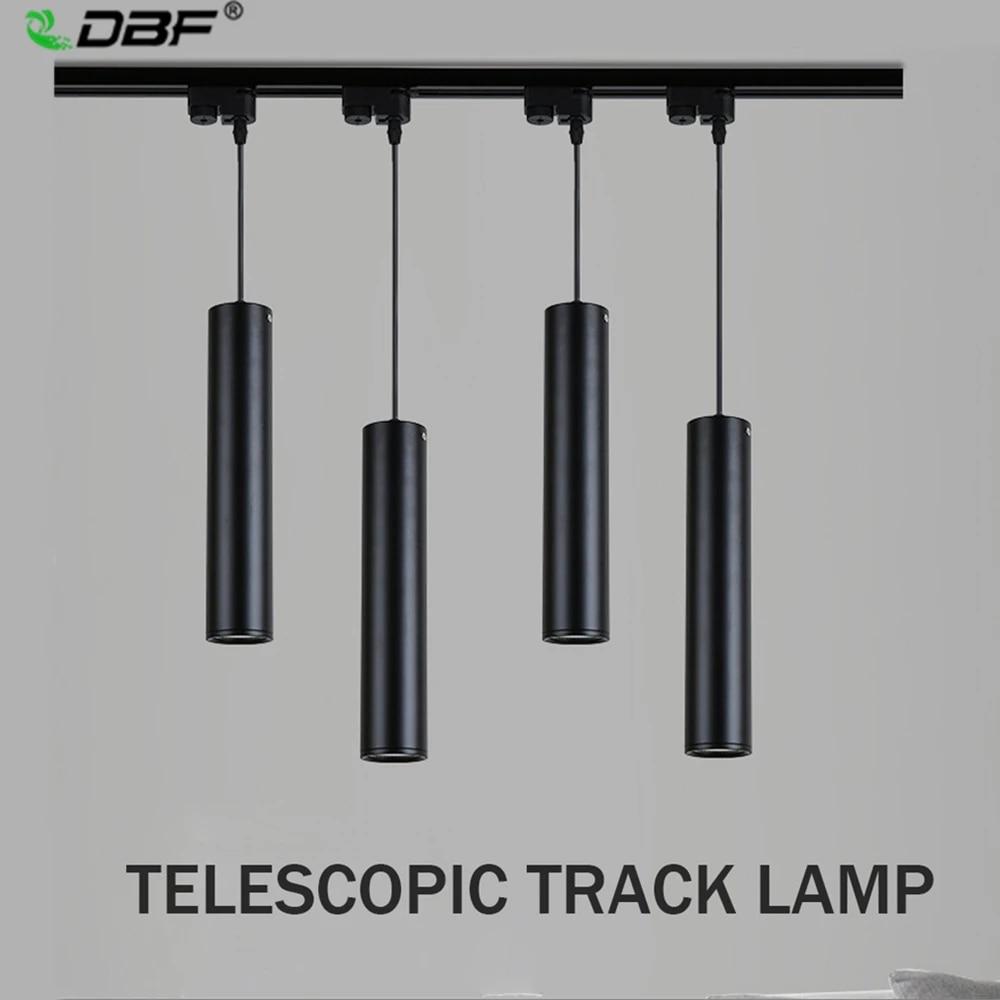[DBF]Modern LED Track Rail Black 9W Pendant Lamp Island Bar Counter Shop  Room Kitchen light fixtures hanglamp luminaire AC9V