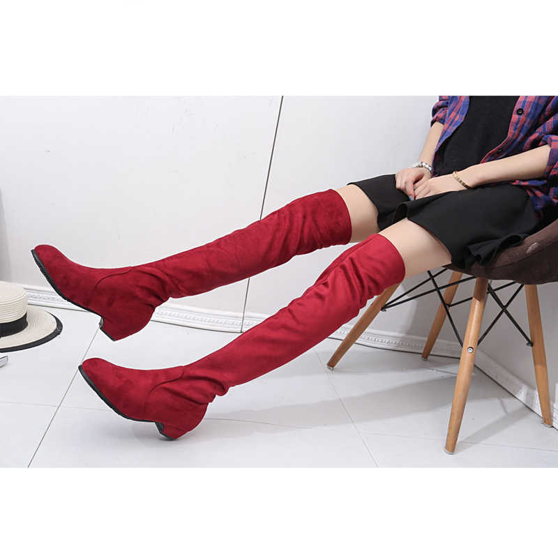 2019 kadın Yüksek Çizmeler Ayakkabı Moda Kadınlar Diz Çizmeler Üzerinde 2019 Yeni Sonbahar Kış Akın Botas Feminina Uyluk yüksek Çizmeler