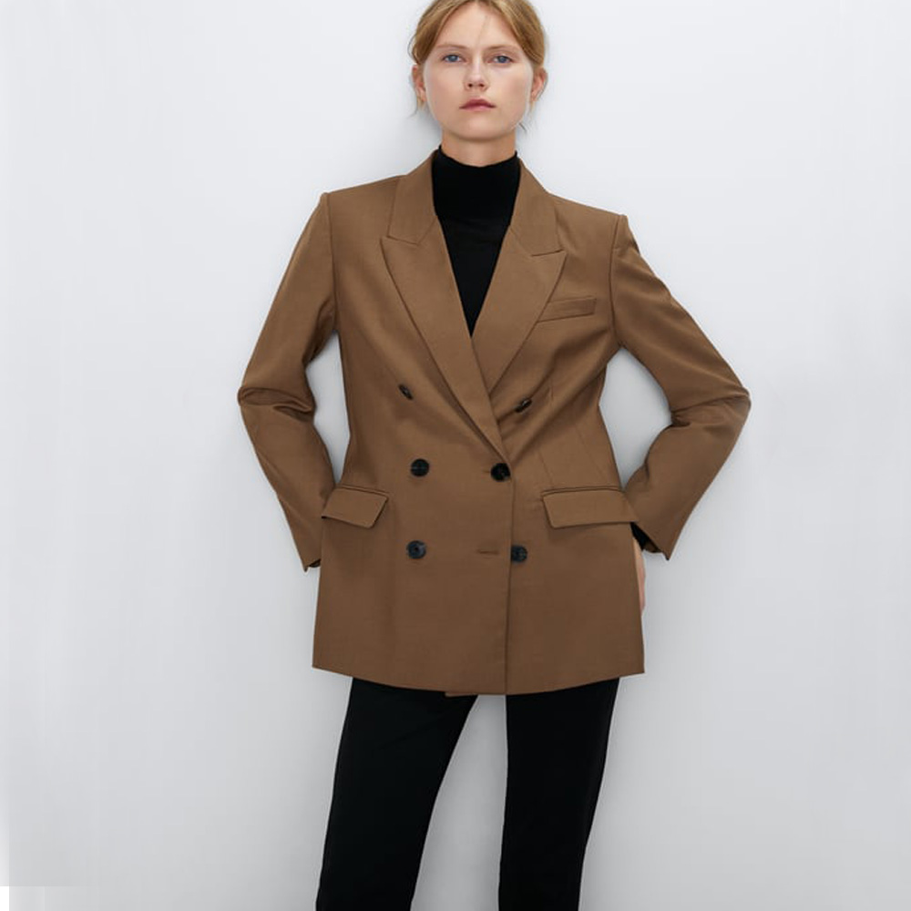 ZA 2019 Autumn New Brown Suit Jacket Fashion Europe America Women Clothes Double Breasted Coat Vacation Party Travel Wholesale