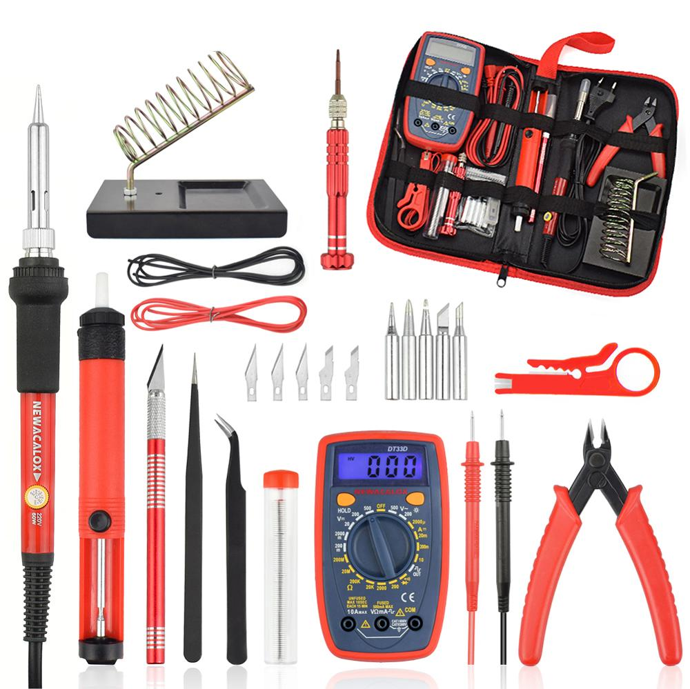 NEWACALOX 60W EU/US Electric Digital Display Soldering Iron Kit Adjustable Temperature Repair Welding Tool Digital Multimeter
