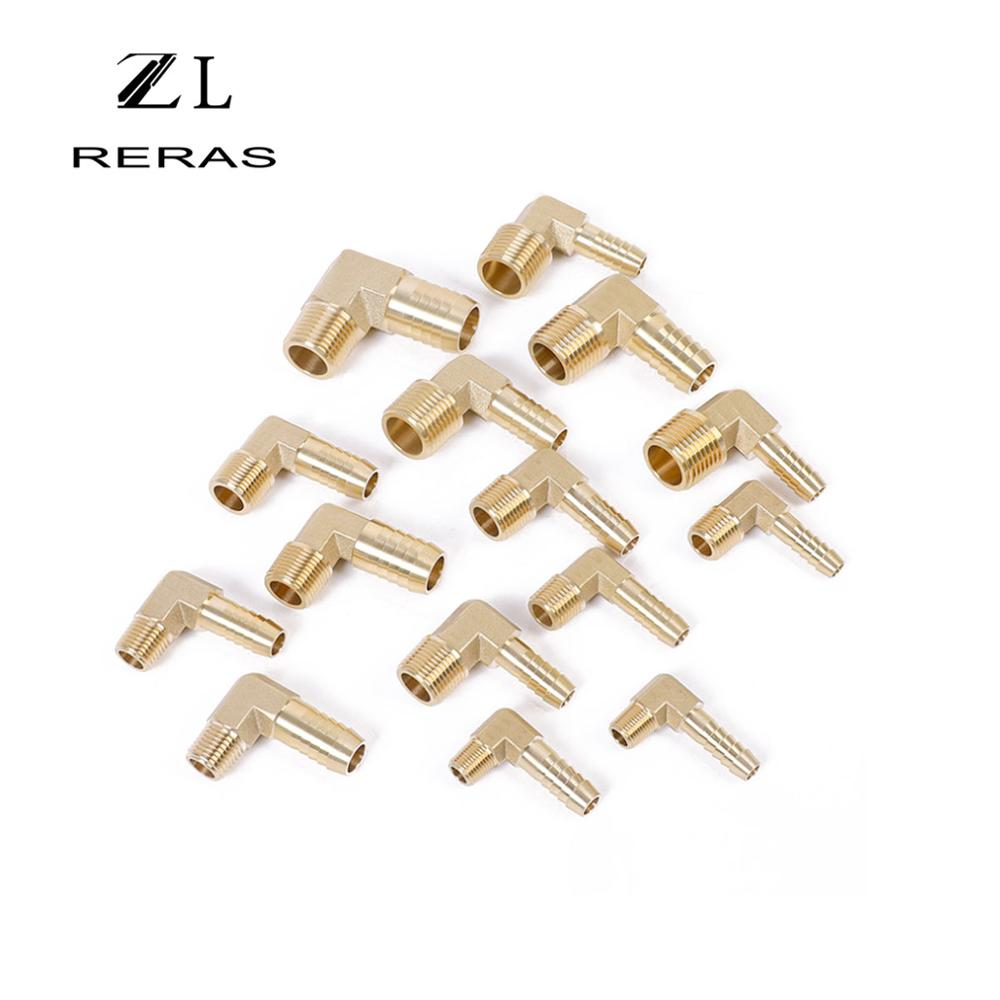 Brass Hose Barb Fitting Elbow 90 Degree BSP Male Thread Barbed Coupling Connector 6/8/10/12/16mm To 1/4 1/8 1/2 3/8Adapter