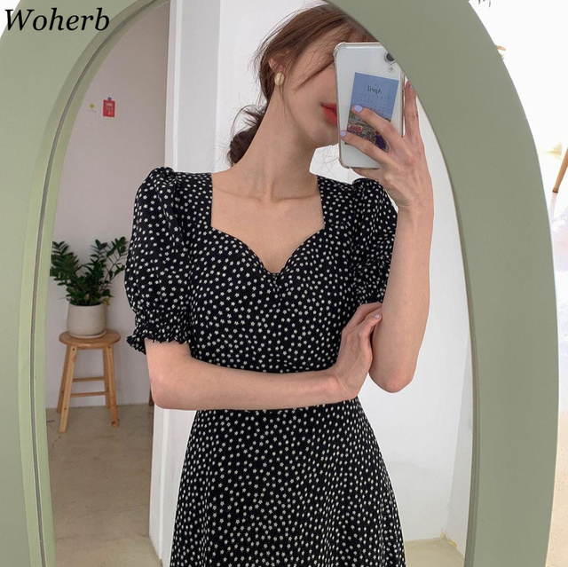 Woherb Women Dress Korean Fashion New Clothes Vintage Square Collar Lace Up Vestidos Slim Fit Print Lantern Sleeve Dresses 92609 2