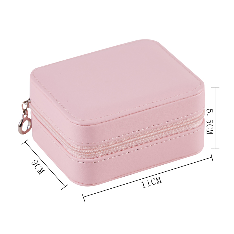 New Korean Style Jewelry Storage Box Girl Earrings Studs Ring Necklace Plate Portable PU Jewelry Box Gift For Women