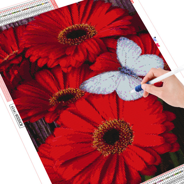 Huacan Diamond Painting Cross Stitch Floral Full Square Crystal Needlework Craft Diamond Embroidery Butterfly Christmas Decor
