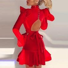 Adyce-Vestido corto de sirena de manga larga para verano, minivestido Sexy con volantes rojos para mujer, botones ahuecados, para fiesta de Club nocturno, 2021