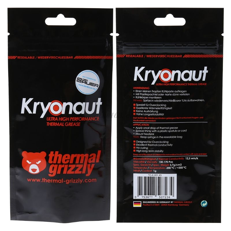 Thermal Grizzly Kryonaut 1g For Cpu Amd Intel Processor Heatsink Fan Compound Cooling Thermal Paste Cooler Thermal Grease Big Promo 4060 Cicig