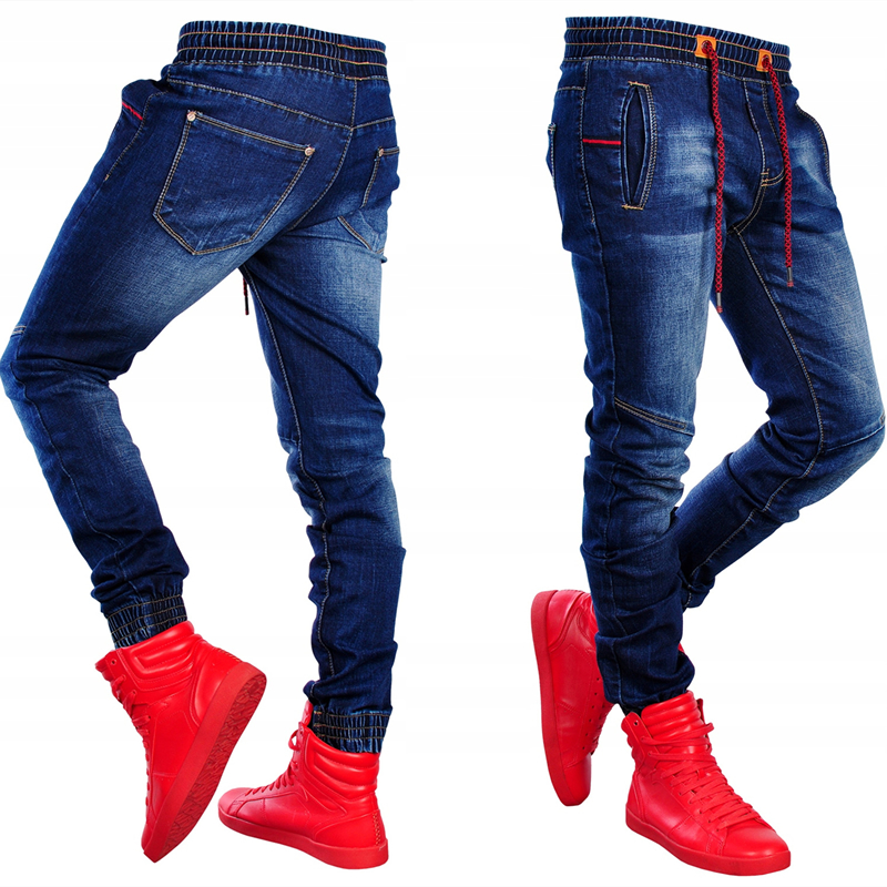 NENTORI Skinny Jeans Men Elastic Waist Slim Fit Patchwork Trousers Fashion Blue Stretch Denim Pencil Jeans Casual Pants Clothes