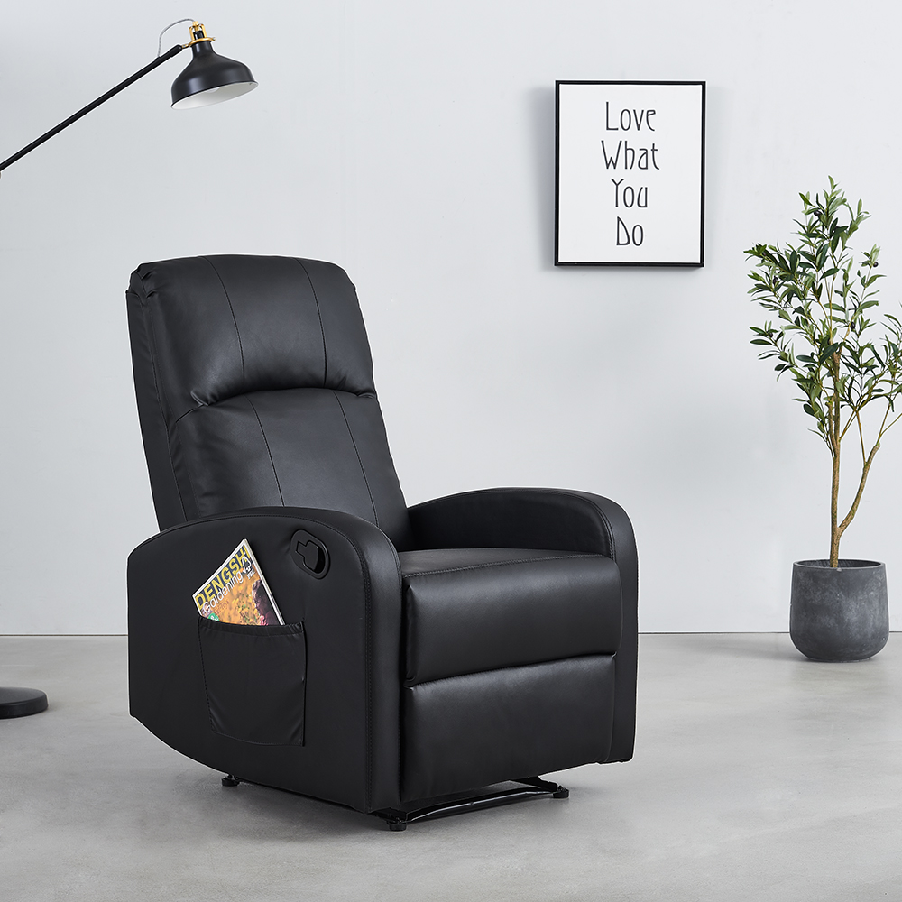 Panana Premium Chaise Lounge Comfort Relax Armchair W/ Manual Button Recliner Upholstered PU Anti-Quartz For Bedroom Livingroom