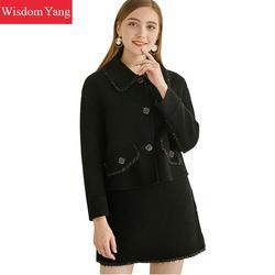 2 stück Set Winter Herbst Schwarz Anzug Jacken Tops Mäntel Frauen Echte Schafe Wolle Warme Mini Bleistift Rock Bangage Koreanische mantel
