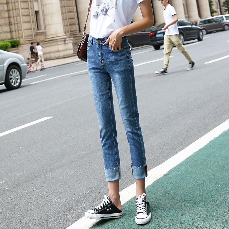 Korean-style Loose-Fit Jeans WOMEN'S Ninth Pants Summer 2019 WOMEN'S Dress New Style Straight-Cut BF Students Versatile