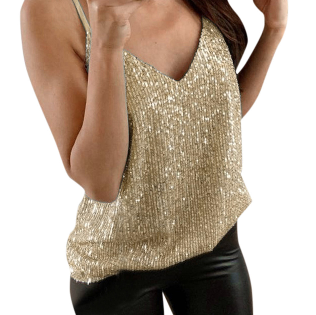 Tank-Top Camis Glitter Party Womens Swing-Vest V-Neck Sparkle Sequin Night-Tanks Sexy title=