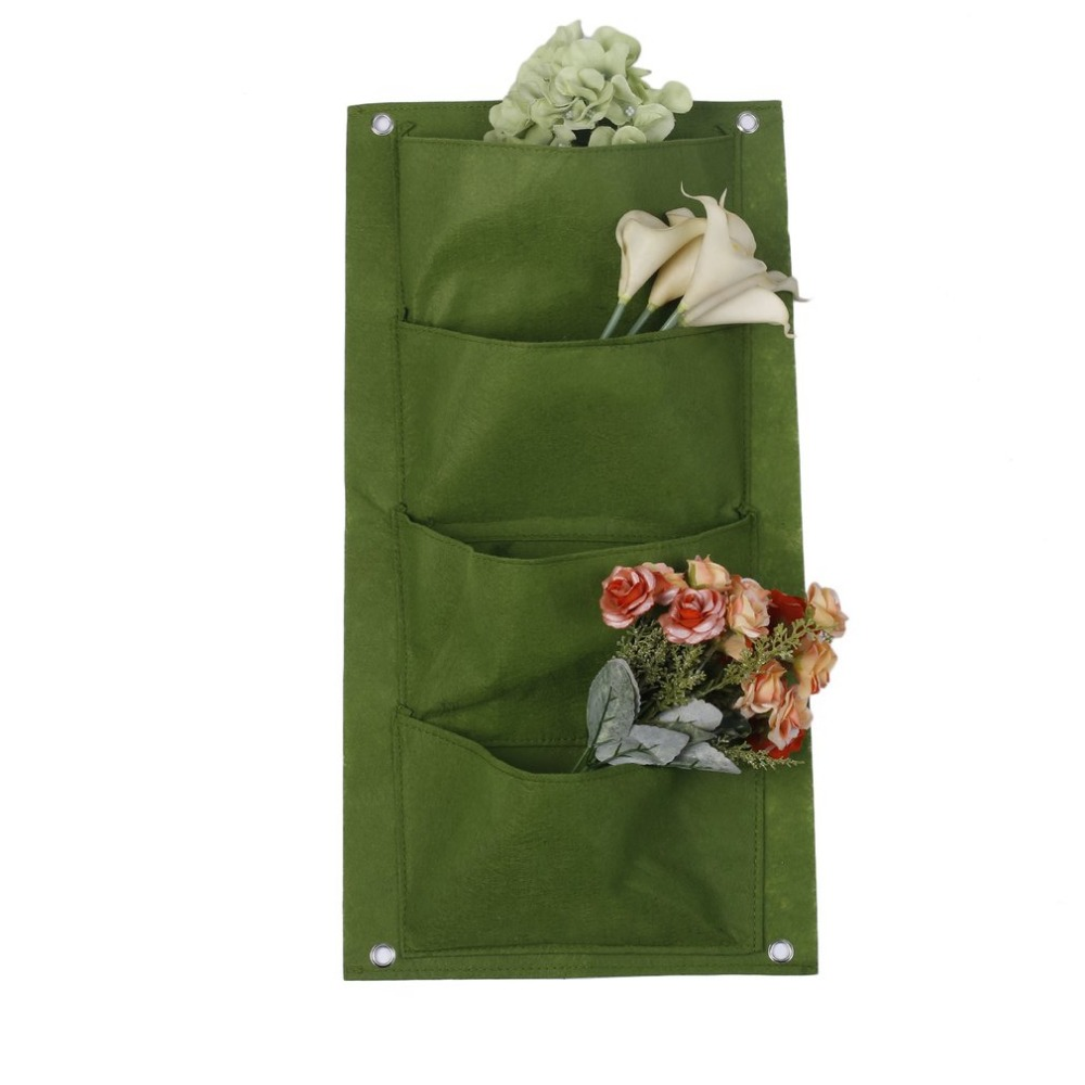 Outdoor Indoor Vertical Gardening Hanging Wall Garden Planting Bags Seedling Wall Planter Growing Bags 4 Pockets 2 Colors