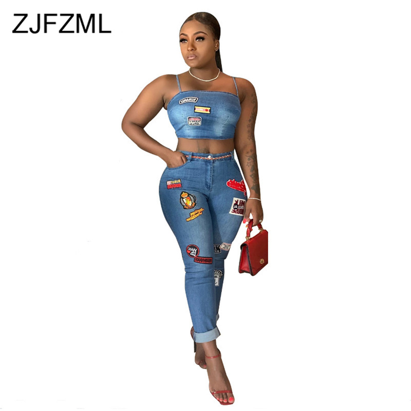 Cartoon Applique Sexy Denim Two Piece Set Women Sets Clothes Spaghetti Strap Crop Top + Skinny Pencil Pants 2 Piece Club Outfits