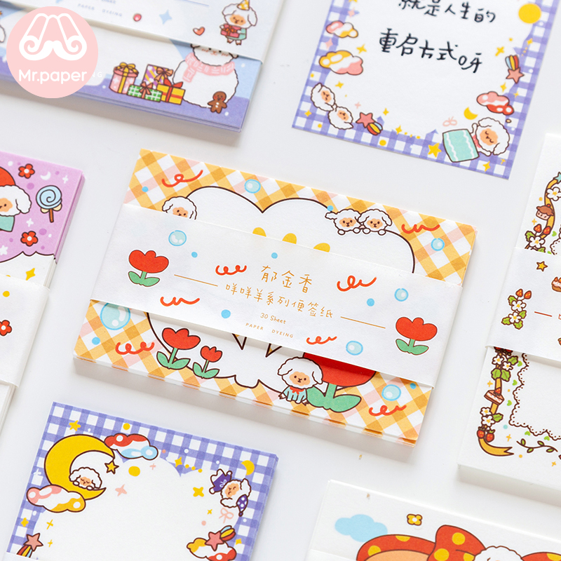 Mr Paper 30pcs/lot Korean Style Lovely Cartoon Sheep Loose Leaf Memo Pads Write Down Points Memo Pads School Official Supplies