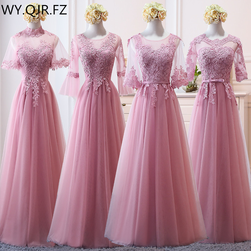 MNZ-9858#Bridesmaid's Dress Medium Sleeve And Long-style New Winter Of 2019 Lace Up Pale Mauve Christmas Dresses Girl Wholesale