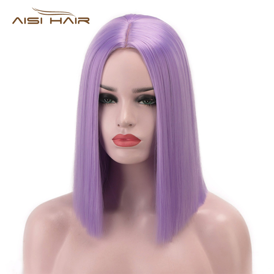 I's A Wig 14'' Short Straight Synthetic Wig Purple/Pink/Blonde Color Blunt Cut Bob Wigs For Women Middle Part Nature Short Hair