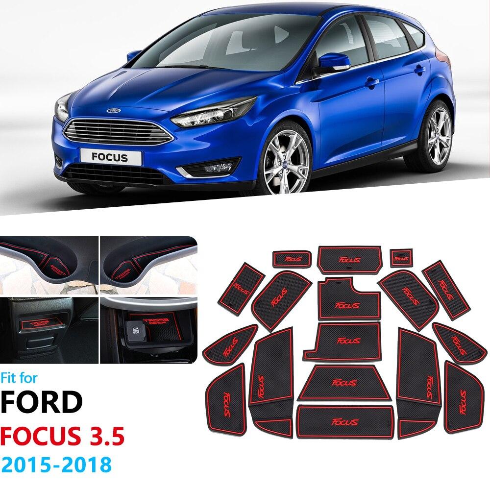 Anti-deslizamento de borracha porta entalhe copo esteira para ford focus 3 3.5 mk3 2015 2016 2017 2018 facelift st rs porta sulco esteira do carro adesivos 17 pc
