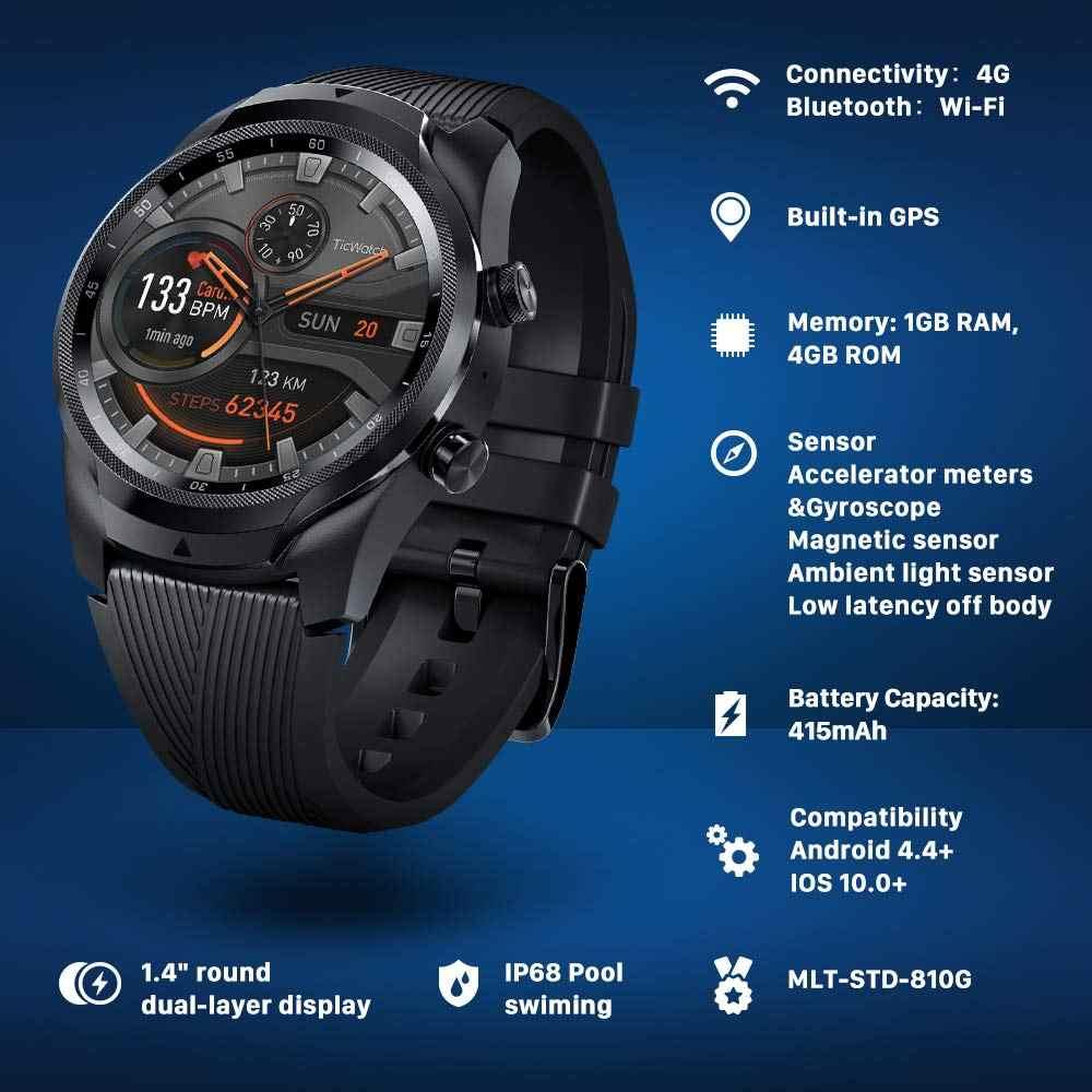 TicWatch Pro 4G/LTE Kami-Verizon 1GB RAM Layar Tidur Pelacakan Renang Siap IP68 tahan Air NFC Google Pay Masa Pakai Baterai Yang Lama