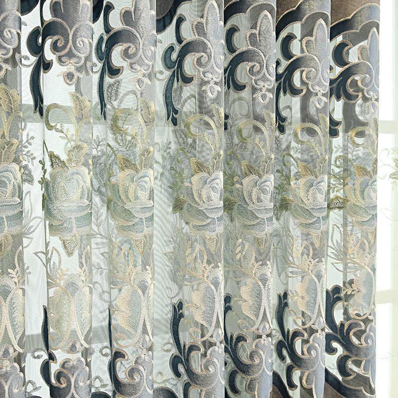 Высококачественная Европейская затеняющая шенилловая вышивка оконные обработки занавеска ткань гостиная Серый роскошный тюль для спальни M118-5