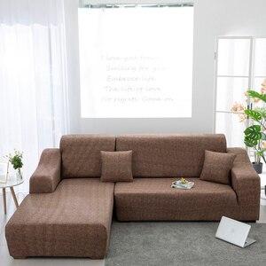 Image 3 - Motif croisé housse de canapé ensemble de coton élastique housse de canapé housse de canapé pour salon animaux cubre canapé canapé serviette 1/2/3/4 places 1PC