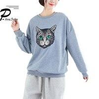 Plus Size Batwing Sleeve Cat Pattern Sweatshirts Women 2019 Autumn Winter Casual Jumper Pullover O Neck Tops Fashion New kawaii