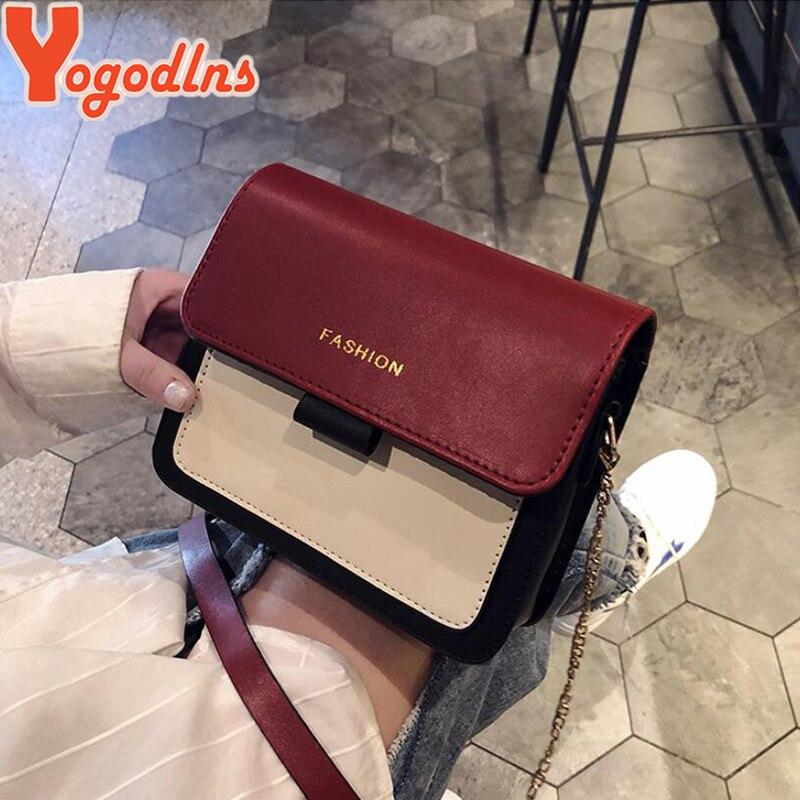 Yogodlns Contrast Color Messenger Bags For Women 2019 Travel Shoulder Bags Crossbody Bags For Girls PU Leather Handbags Summer