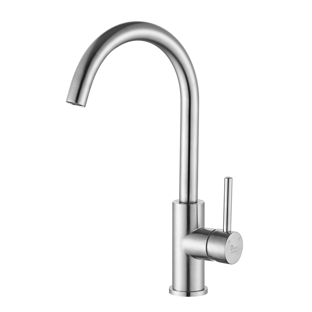 Kitchen Faucet Stainless Steel Fitted Single Holder Single Hole Stainless Steel Hot And Cold Water Brush Tap