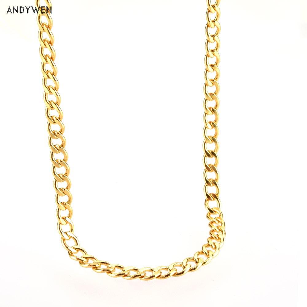 ANDYWEN 925 Sterling Silver Gold Thicker Chain Women Necklace Choker Luxury Spain European Fashion Fine Jewelry 2020 Rock Punk
