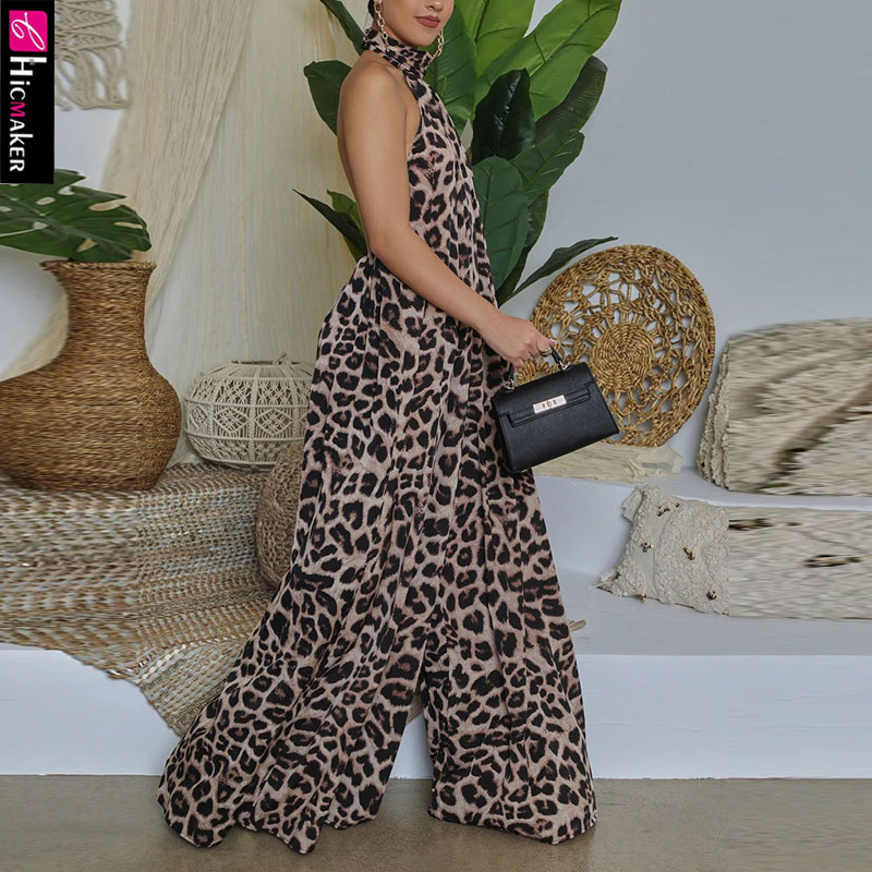 Women Leopard Printed Halter Backless Wide Leg Jumpsuits Overalls Chic Summer Loose Overall