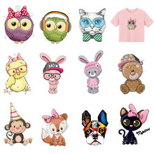Owl Animals Applique Iron On Patch Stripe Clothing DIY Heat Transfers Boy Girl Clothes Patches Rabbit Cat Dog Accessories E(China)
