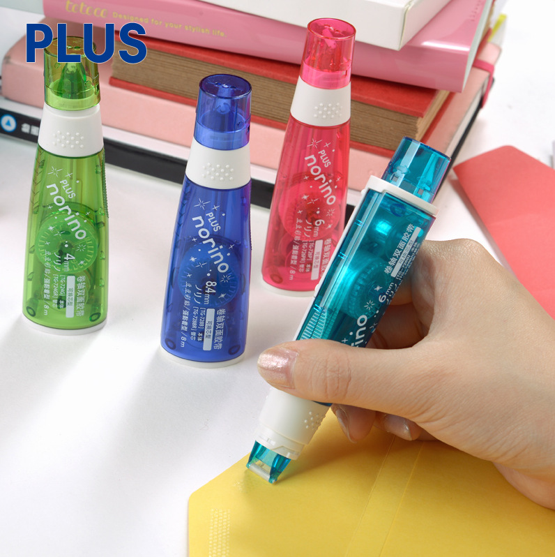 1pc PLUS Norino Scroll Double Sided Tape Journal Tool Point Type Adhesive Alteration Dot Glue School Office Supplie